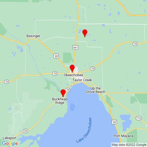 Map of Okeechobee, FL