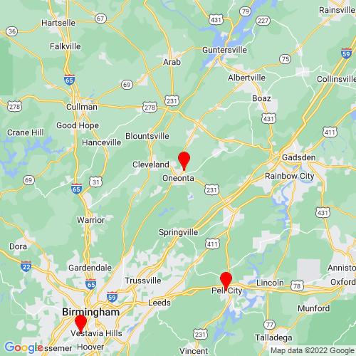 Map of Oneonta, AL