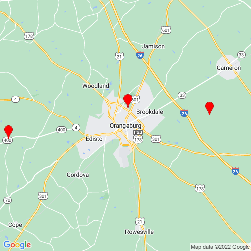 Map of Orangeburg, SC