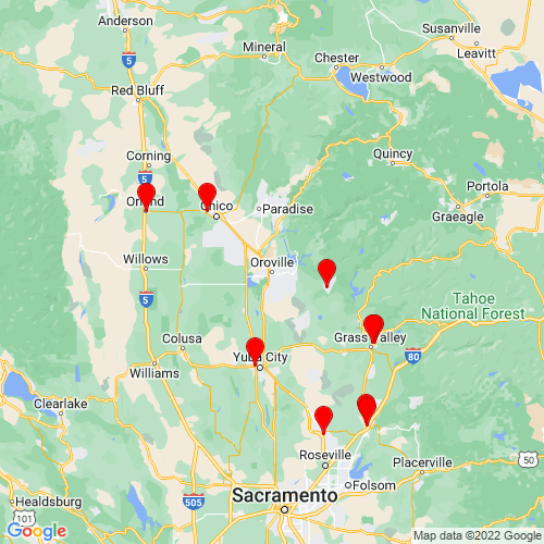 Map of Oroville, CA