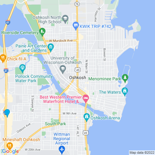 Map of Oshkosh, WI