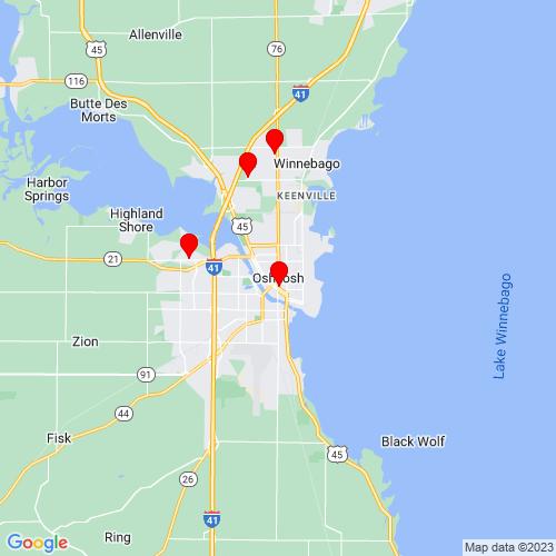 Map of Oshkosh, WI