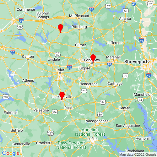 Map of Overton, TX