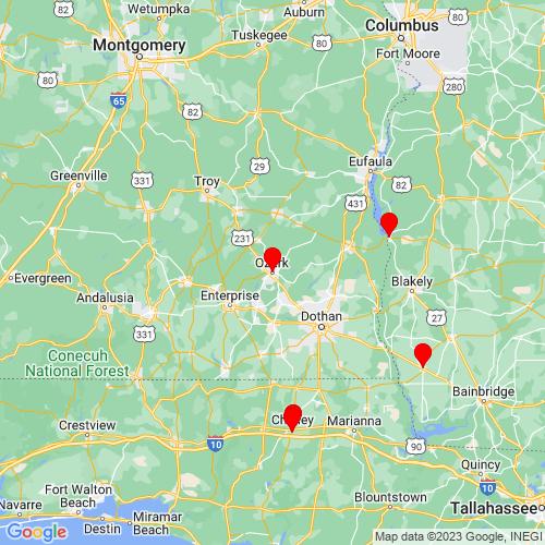 Map of Ozark, AL