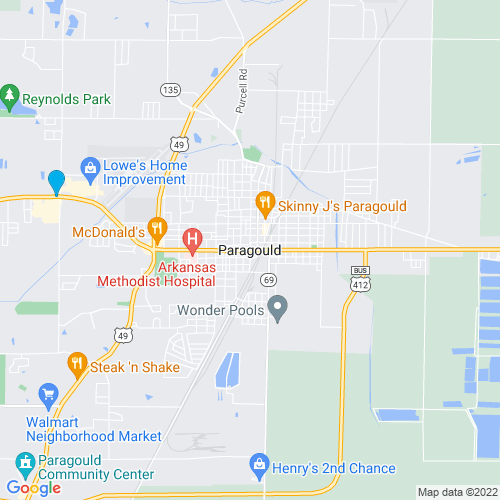Map of Paragould, AR