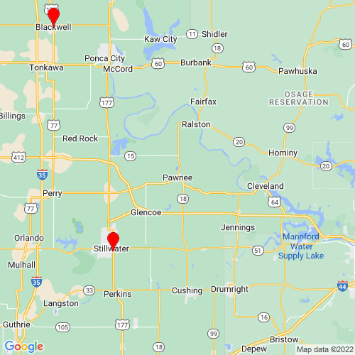 Map of Pawnee, OK