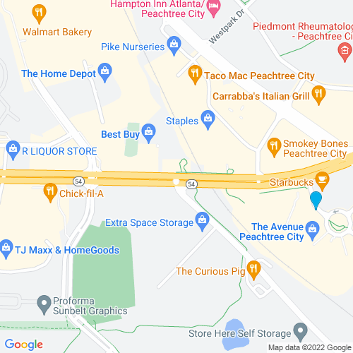 Map of Peachtree City, GA