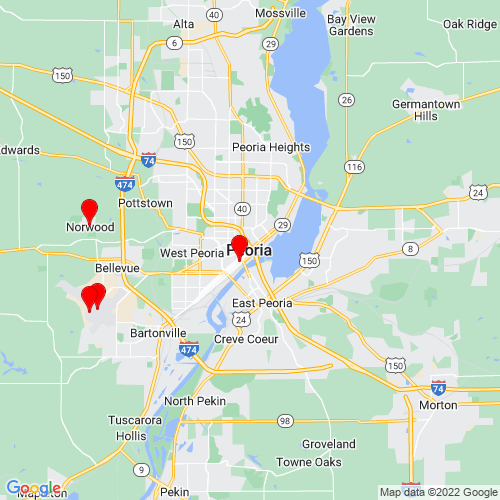 Map of Peoria, IL