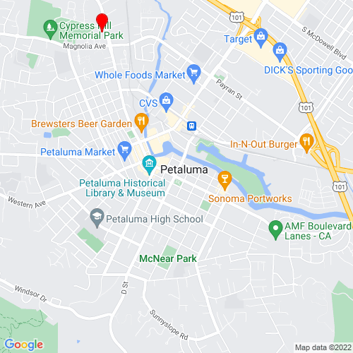 Map of Petaluma, CA