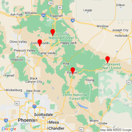 Map of Pine, AZ