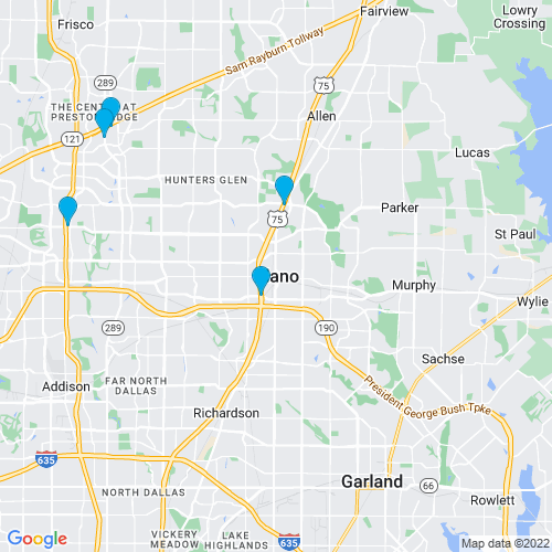 Map of Plano, TX