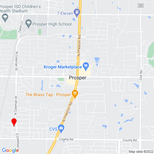 Map of Prosper, TX