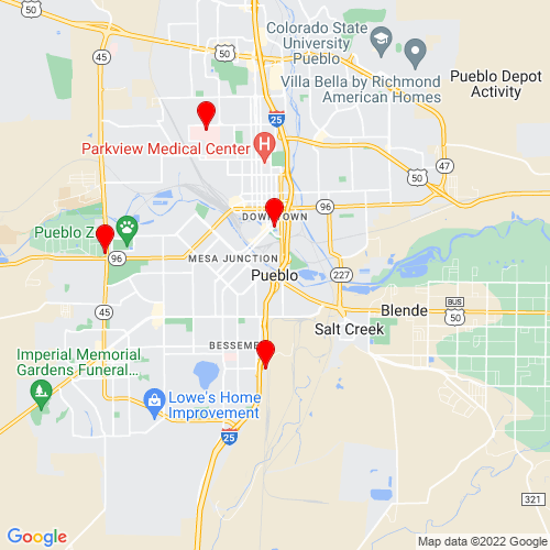Map of Pueblo, CO