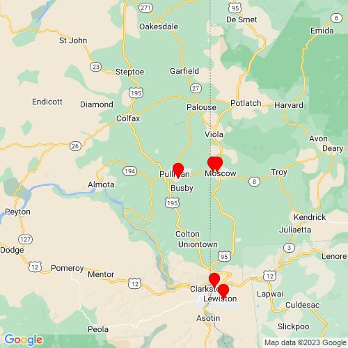Map of Pullman, WA