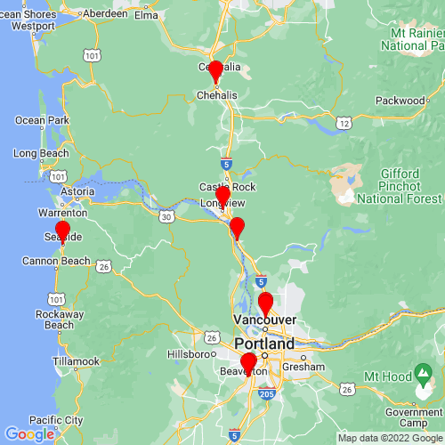 Map of Rainier, OR
