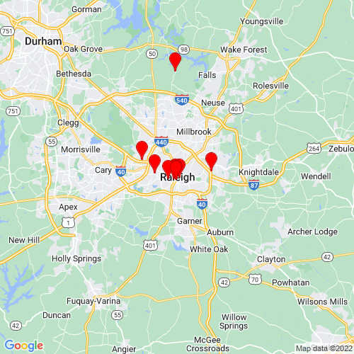 Map of Raleigh, NC