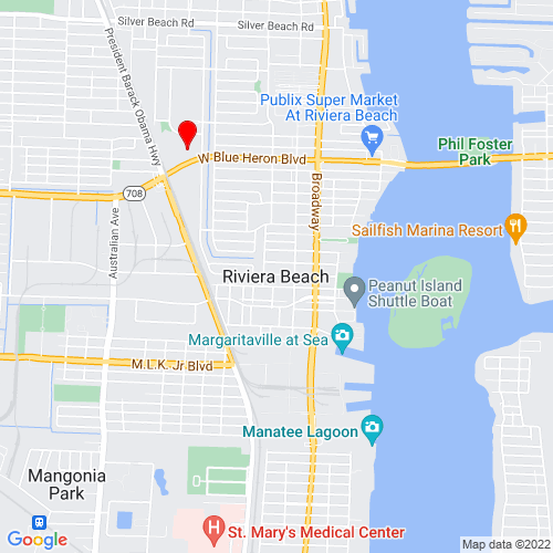 Map of Riviera Beach, FL