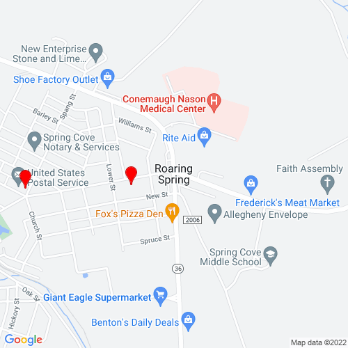 Map of Roaring Spring, PA