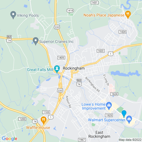 Map of Rockingham, NC