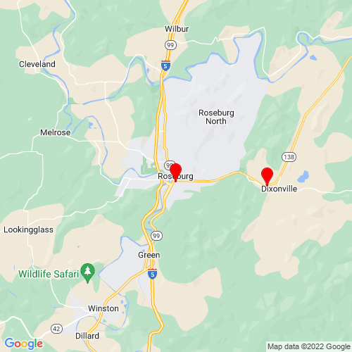 Map of Roseburg, OR