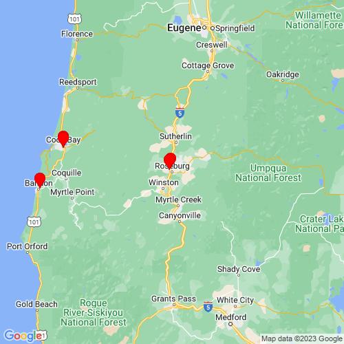 Map of Roseburg, OR