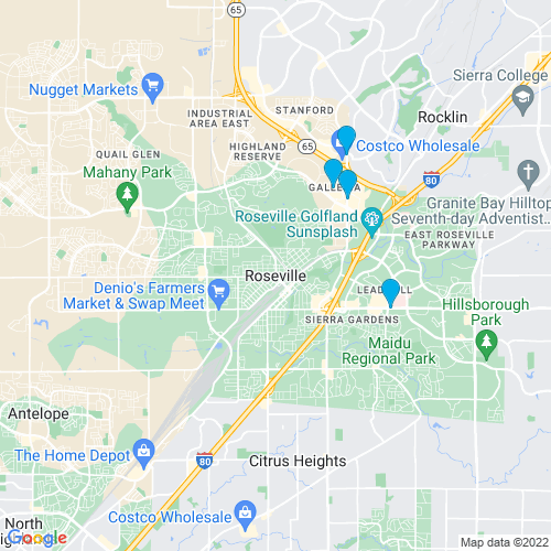 Map of Roseville, CA