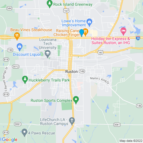 Map of Ruston, LA
