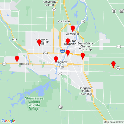Map of Saginaw, MI