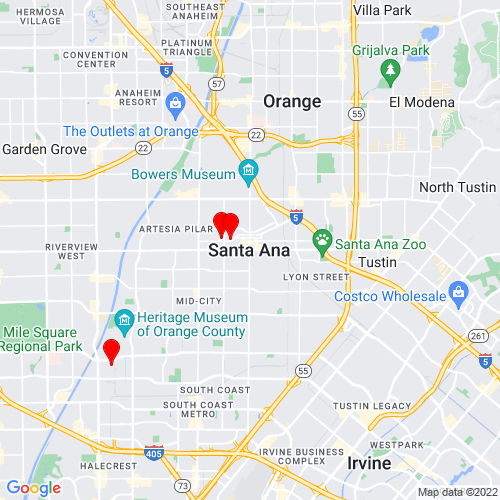 Map of Santa Ana, CA