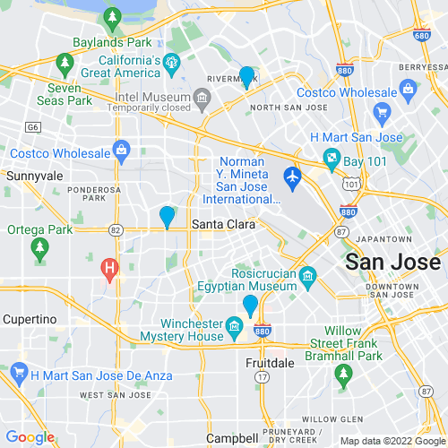 Map of Santa Clara, CA