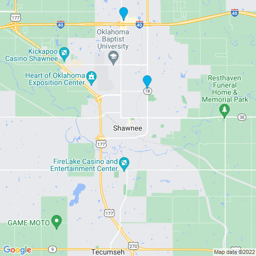 Map of Shawnee, OK