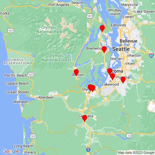 Map of Shelton, WA