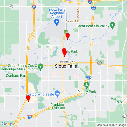 Map of Sioux Falls, SD