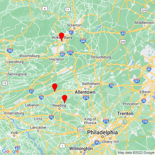 Map of Slatington, PA