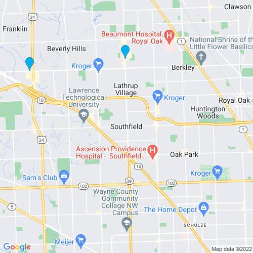 Map of Southfield, MI