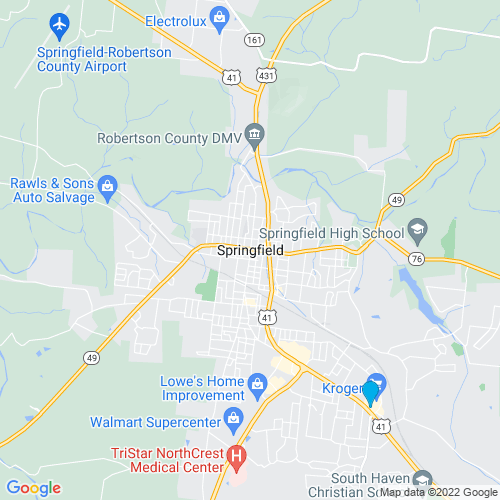 Map of Springfield, TN