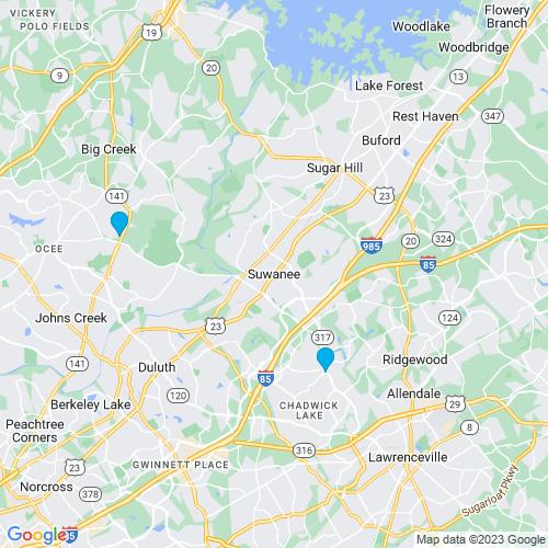 Map of Suwanee, GA