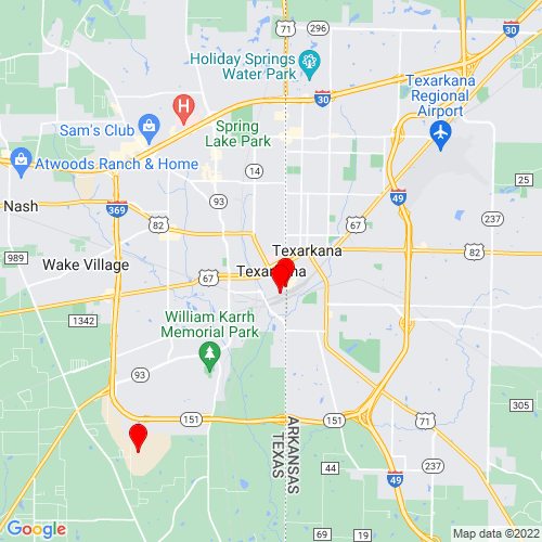 Map of Texarkana, TX