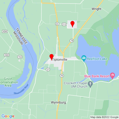 Map of Tiptonville, TN