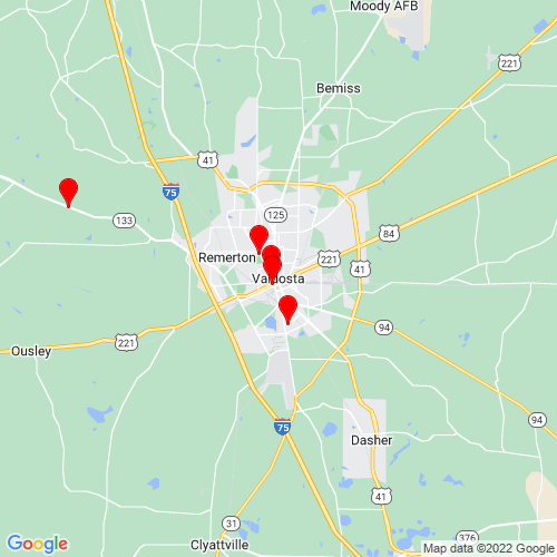 Map of Valdosta, GA
