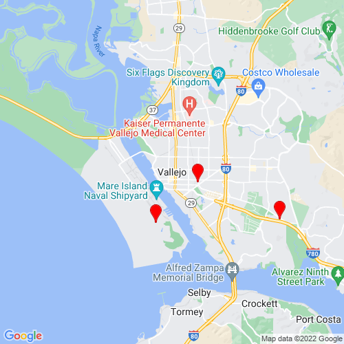 Map of Vallejo, CA