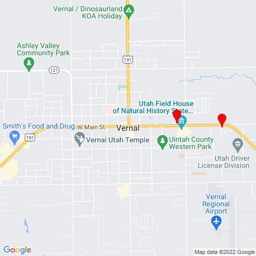 Map of Vernal, UT