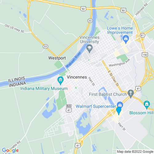 Map of Vincennes, IN