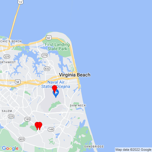 Map of Virginia Beach, VA