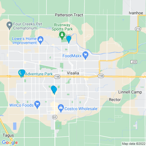 Map of Visalia, CA