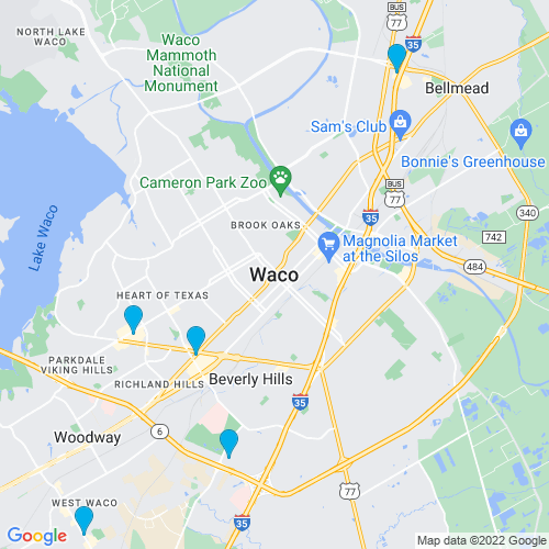 Map of Waco, TX