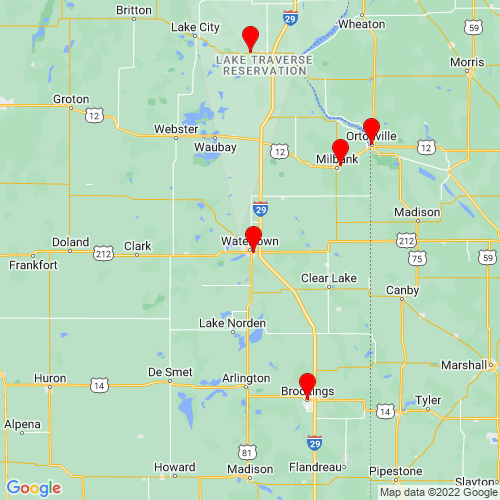 Map of Watertown, SD
