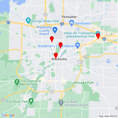 Map of Waukesha, WI