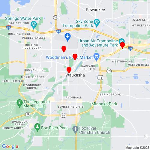Map of Waukesha, WI