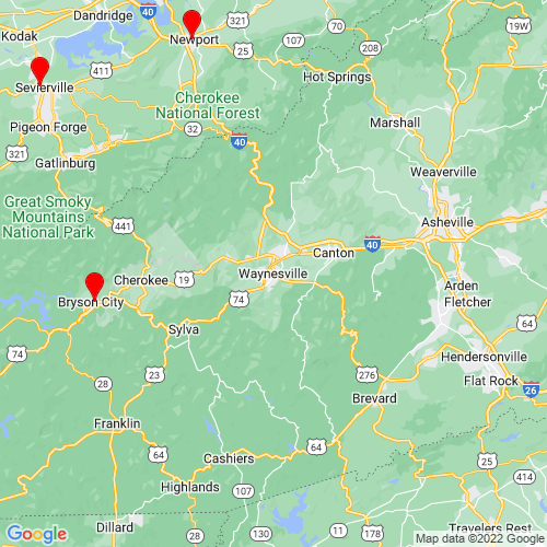 Map of Waynesville, NC